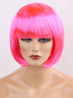 Pink Carnival Wig Blunt Fringe Bob Layered Short Synthetic Women Holiday Wig