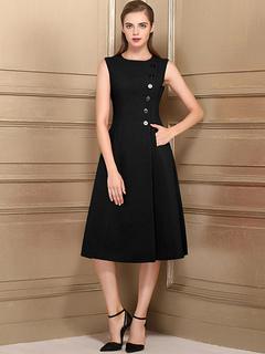 Women Dress Sleeveless Button Brocade Black Women Party Dress