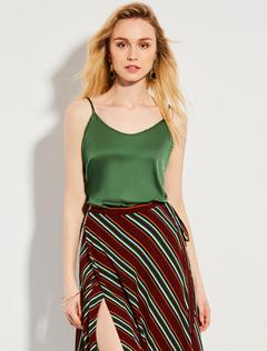Women Cami Top Straps Sleeveless Split Grass Green Top