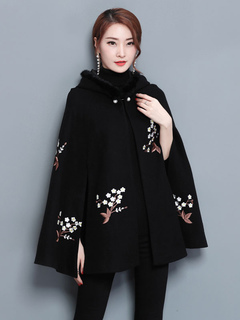 Black Poncho Coat Hooded Long Sleeve Embroidered Wool Winter Cape Coat For Women