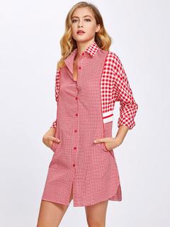 Red Shirt Dress Women Spread Collar Plaid Button Up Shift Dress