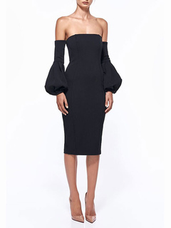 Black Party Dress Women Off The Shoulder Puff Sleeve Backless Bodycon Dress