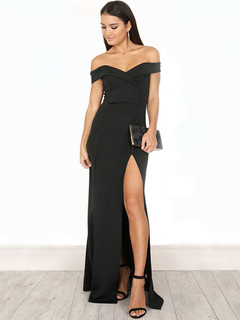 Women Dress Party Off The Shoulder Slit Black Maxi Dress