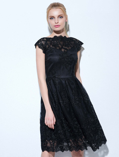 Black Party Dresses Lace Bateau Neck Short Sleeve Skater Dress For Women