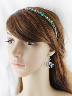 Crystal Head Band Ethnic Beading Green Hair Accessory