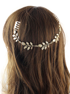 Women Hair Comb Leaf Chain Golden Alloy Hair Band