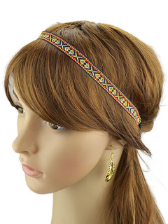 Ethnic Head Band Woven Artwork Pattern Orange Nylon Hair Accessory