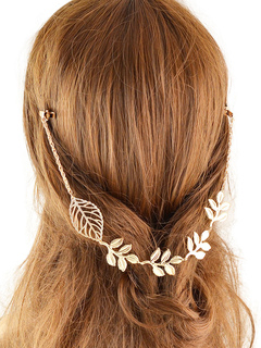 Women Golden Headband Leaf Embossed Alloy Hair Accessory