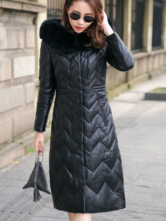 Black Quilted Coat Hooded Faux Fur Long Sleeve Wavy Striped Women Winter Padded Coat