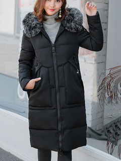 Quilted Coat Black Hooded Faux Fur Long Sleeve Winter Coat For Women