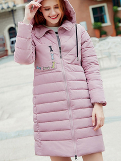Women Quilted Jacket Hooded Long Sleeve Embroidered Pink Winter Padded Coat