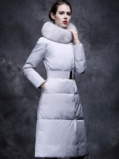 Women Quilted Coat Long Sleeve Faux Fur Stand Collar Sash Grey Winter Dress Coat For Women