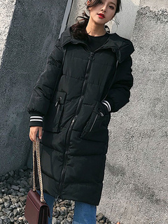Black Quilted Coat Hooded Long Sleeve Embroidered Winter Coat For Women