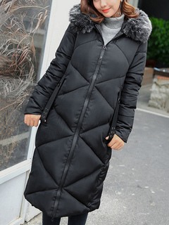 Black Quilted Coat Hooded Long Sleeve Slim Fit Winter Coat For Women