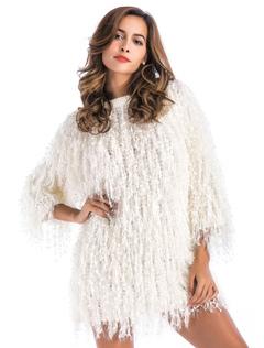 Women Sweater Dress Fringe 3/4 Sleeve Ecru White Knit Sweater Dress