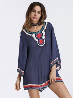 Women White Dress Boho Crochet 3/4 Sleeve Ruffle Women Shift Dress