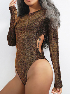 Gold Bodysuit Women Long Sleeve Round Neck Cut Out Sexy Bodysuits