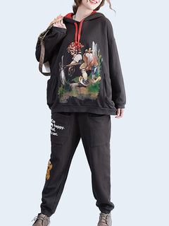 Women 2 Piece Set Cartoon Print Cotton Hoodie Long Sleeve Top With Sweat Pants