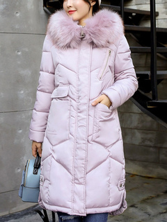 Women Quilted Coat Hooded Faux Fur Collar Coat Pink Long Sleeve Winter Coats