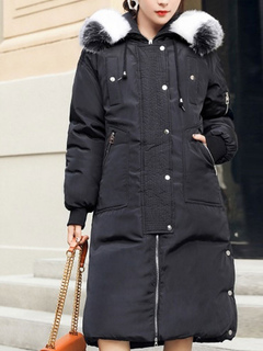 Black Hooded Quilted Coat Long Sleeve Faux Fur Oversized Winter Coat For Women