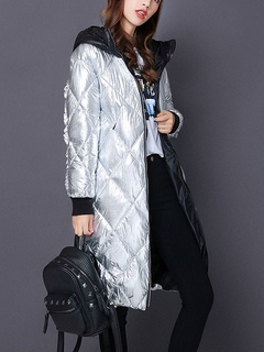 Silver Quilted Coat Hooded Long Sleeve Slim Fit Metallic Women Winter Padded Coat