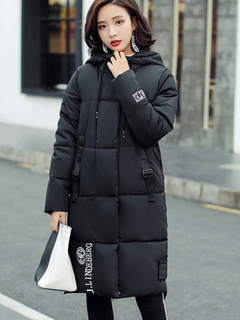 Quilted Jacket Black Hooded Long Sleeve Printed Oversized Winter Coat For Women