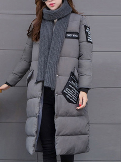 Women Quilted Coat Long Sleeve Stand Collar Printed Slim Fit Deep Grey Winter Coat