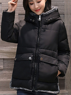 Black Quilted Jacket Hooded Faux Fur Coat Long Sleeve Winter Padded Jacket For Women