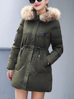 Women Parka Jacket Hooded Faux Fur Long Sleeve Drawstring Hunter Green Winter Quilted Coat