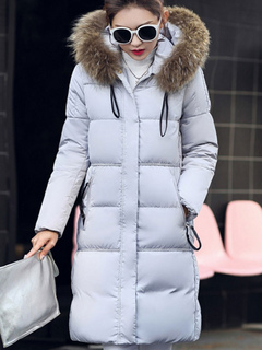 Women Quilted Coat Hooded Faux Fur Coat Long Sleeve Slim Fit Light Grey Winter Padded Jacket