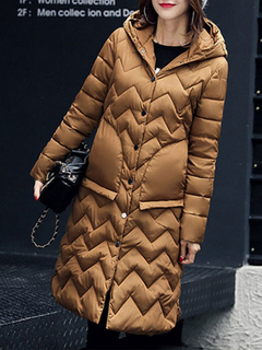 Black Quilted Coat Hooded Long Sleeve Slim Fit Maxi Winter Coat For Women