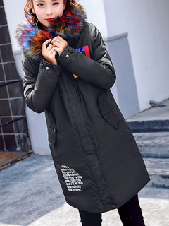 Black Quilted Hooded Jacket Long Sleeve Printed Faux Fur Winter Coat For Women