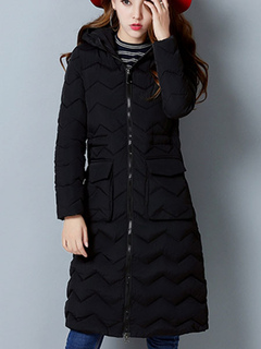 Black Hooded Quilted Coat Long Sleeve Winter Padded Coat For Women