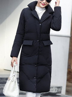 Long Black Quilted Jacket Turndown Collar Slim Fit Women Padded Coat For Winter