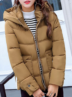 Women Quilted Jacket Hooded Long Sleeve Printed Slim Fit Brown Padded Coat For Winter