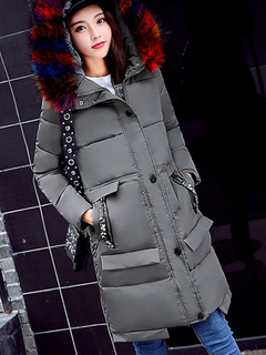 Quilted Jacket Hooded Grey Faux Fur Collar Coat Long Sleeve Women Winter Coats