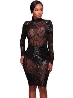 Women Club Dress Sequin Black Sheer High Collar Backless Sexy Dress