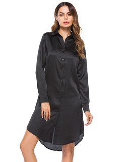 Satin Shirt Dress Turndown Collar Embroidered Black Long Sleeve Women Dress