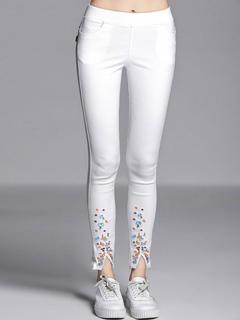White Leggings Women Embroidered Slit Skinny Leggings