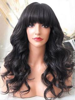 Women Wig Natural Blunt Fringe Full Volume Curl Long Black Human Hair Wig f13ae64a30