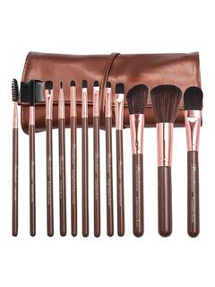 Professional Makeup Brush Wood Bar Fine Fiber Portable 12 Piece Makeup Brush Combo With Kit