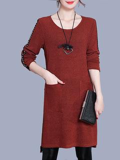 Knit Sweater Dress Women Long Sleeve Round Neck Studded Split Maroon Shift Dress