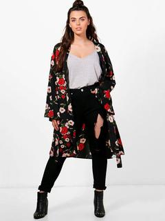 Women Oversized Kimono Floral Print Long Sleeve Plus Size Black Cardigan Kimono