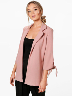 Women Blazer Jacket Pink Long Sleeve Notch Collar Knotted Oversized Blazers