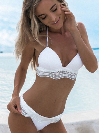 42cd01dc0f3 White Bikini Swimsuit 2019 Halter Low Waist Women Beach Bathing Suit