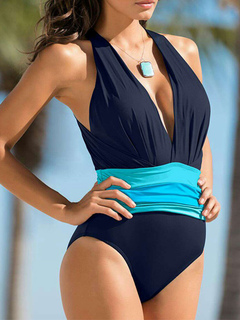 One Piece Swimsuit Beach Plunging Neck Sleeveless Backless Dark Navy Women Bathing Suits