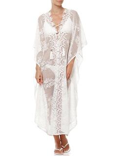 White Lace Beachwear V Neck Tassel Long Sleeve Sheer Women Beach Cover Up