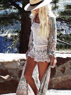 Boho Cover Up Floral Print Green Women Beachwear