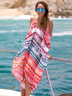 Boho Cover Up Ethnic Print V Neck Sleeveless Red Women Beachwear