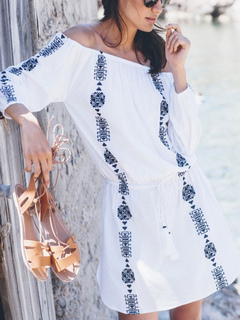 Boho Women Beachwear Off The Shoulder Ethnic Embroidered White Beach Cover Up